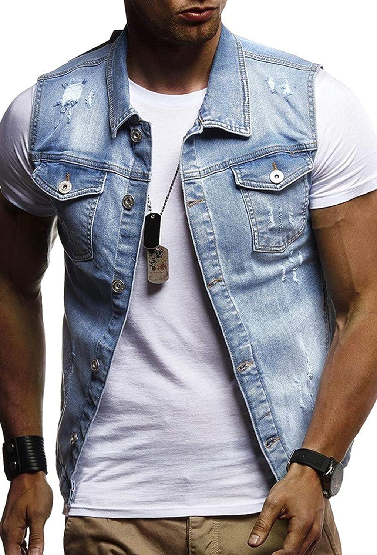 PEHMEA Men's Casual Denim Button Down Sleeveless Ripped Trucker Moto Jean Jacket Vest