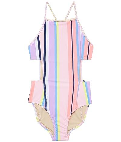 shade critters Summer Stripe Cutout Monokini (Little Kids/Big Kids) (Coral) Girl