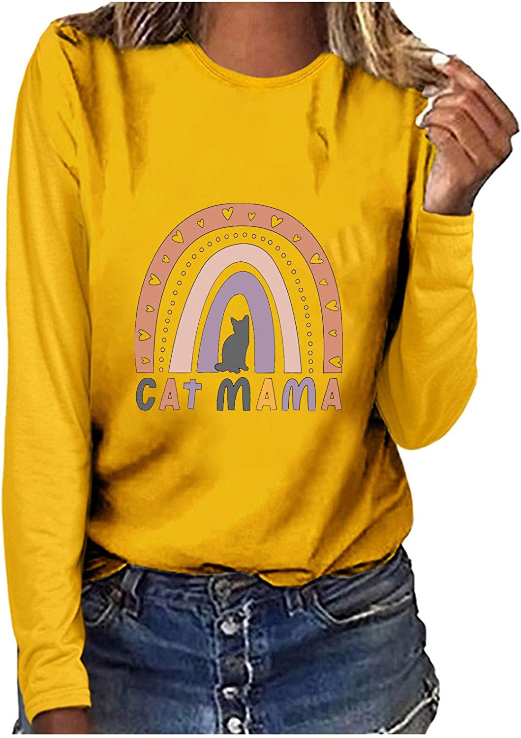 Womens Tops,Women's Lightweight Tops Long Sleeve Casual Loose Tunic Sweaters Loose Pullover Sweatshirts