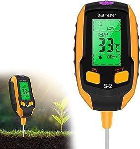 Esimen 5-in-1 Soil Tester Moisture,Light/PH/Temperatur/Environment Humidity, Digital Plant Thermometer Test,Sensor Hygrometer Soil Tester,Plant Water Meter Indoor/Outdoor for Gardens, lawns(S2,Yellow)