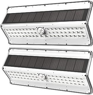 EZBASICS Solar Lights Outdoor, 56 LED Wireless Motion Sensor Light, Security Lights for Front Door, Yard, Garage, Deck, White Shape, 2 Pack
