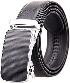 KHC Men's Belt 100% Leather Belt Ratchet Automatic Adjustable Buckle