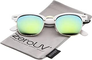 zeroUV - Half Frame Semi Rimless Sunglasses for Men Women with Colored Mirror Lens 50mm