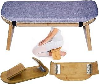 Folding Meditation Bench, Portable Foldable Perfect Kneeling Stool Ergonomic Bamboo Yoga Bench, for Tea Ceremony, Seiza, Y...