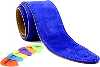 Soft Suede Wide Guitar Strap with Cream Stitching (Free Plectrums) (Blue)