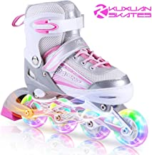 Kuxuan Inline Skates Adjustable for Kids,Girls Skates with All Wheels Light up,Fun Illuminating for Girls and Ladies