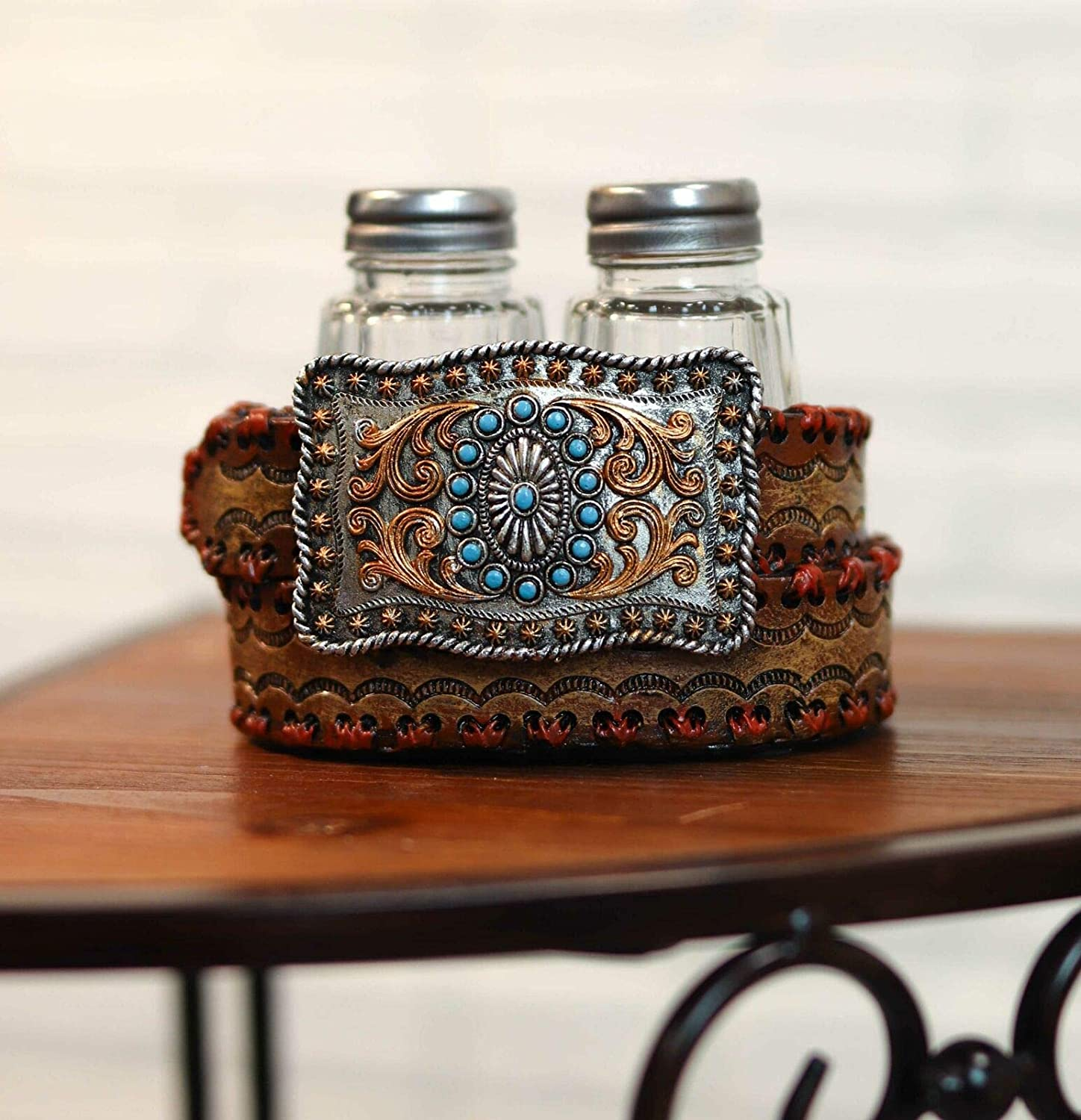 HomDEc Western Turquoise and On Belt Set Special price for a limited Department store time Buckle S Pepper Shakers