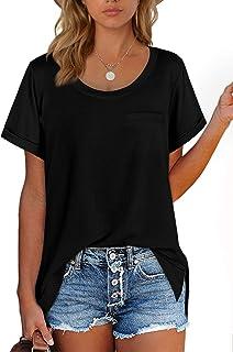 Women's T Shirts Crewneck Loose Fitting Short Sleeve Tops
