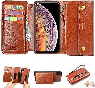 CORNMI iPhone Xs Max Wallet Case, Zipper Pocket 8 Card Holders Wrist Strap Kickstand Detachable Purse Leather Folio Flip Protective Cover for Apple XS Max 6.5''Brown