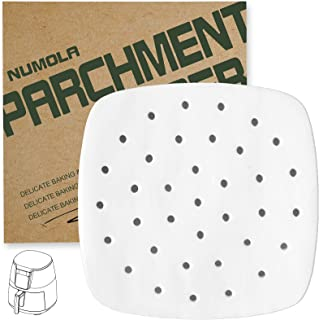 Numola Air Fryer Liners - 100 pcs Perforated Parchment Paper, Square Bamboo Steamer Paper Compatible with Philips, Cozyna,...