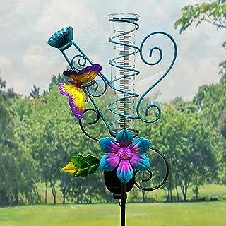 Zhippang - Misuratore di pioggia a energia solare, da 77 cm, con fiori e farfalle, decorazione per giardino e giardino, id...