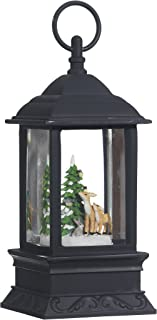 Lighted Snow Globe Lantern: 9.5 Inch, Black Holiday Water Lantern by RAZ Imports (Deer)