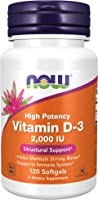 NOW Supplements, Vitamin D3 2000 IU High Potency Structural Support Softgels, 120 Count