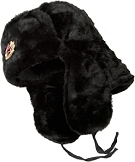 Hat Russian Soviet Army KGB Fur Military Cossack Ushanka Size XL Black