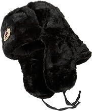 SIBERHAT Hat Russian Soviet Army KGB Fur Military Cossack Ushanka Size XL Black
