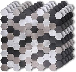 "HomeyMosaic Peel and Stick Tile Backsplash Stick on Kitchen Wall Decor Aluminum Surface Metal Smart Tiles,Silver&Black&Grey Hexagonal Honeycomb(12""x12""x 5 Sheets)"