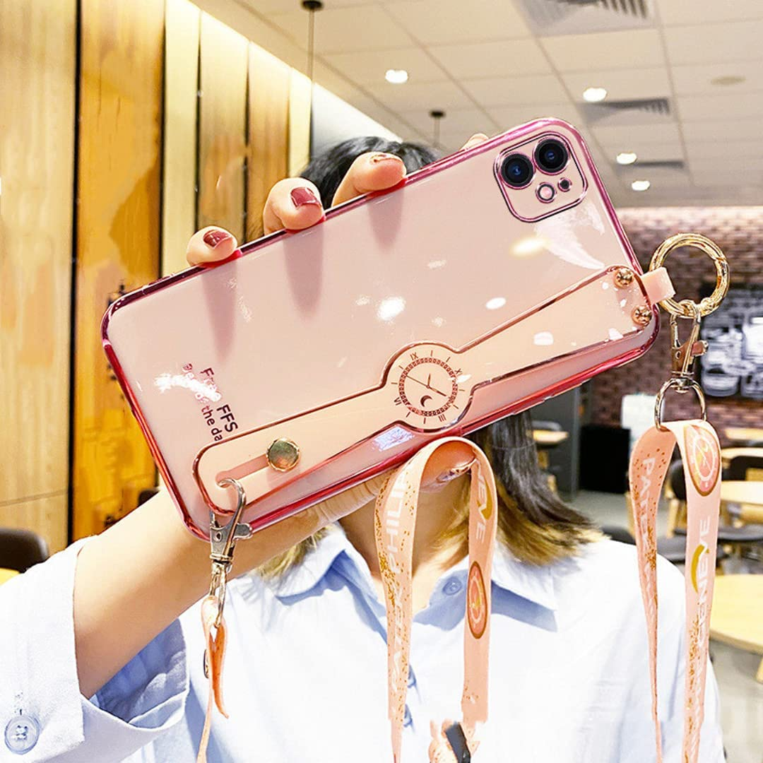 ISYSUII Plating Case for iPhone 12 with Wrist Strap Band Kickstand and Crossbody Lanyard for Women Girls Shiny Cute Pretty Protective Cover Anti-Scratch Flexible Case,Pink