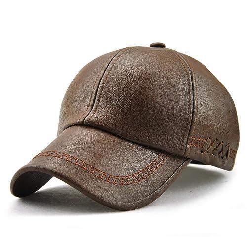 Nameblue PU Leather Cap Adjustable Baseball Hat Cap Snapback Cap EU-12966 eb7912148f85