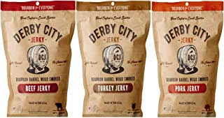 Derby City Bourbon Barrel Wood Smoked Beef Pork Turkey Variety 6.6 Ounces Pack of 3