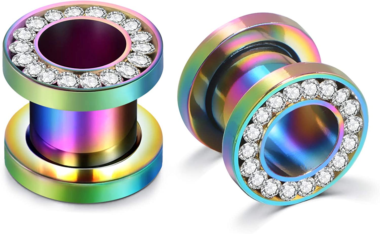MODRSA Stainless Steel Rhinestone Crystal Ear Tunnel Plugs Ear Gauges Expanders Piercing Jewelry Zircon Silver Black Rose Gold Rainbow 6mm 8mm 10mm 0g 00g 2g