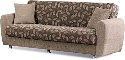 BEYAN Chestnut 2016 Collection Convertible Sofa Bed with Storage Space Including 2 Pillows, Light Brown, Floral Print