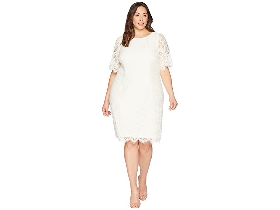 Adrianna Papell Plus Size Bell Sleeve Georgia Lace Sheath Dress (Ivory) Women