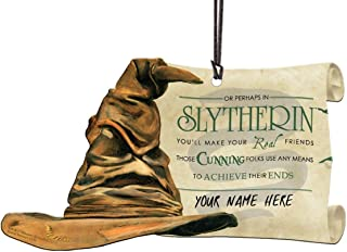 Trend Setters Harry Potter Sorting Hat - Slytherin Personalized - Shaped Acrylic Hanging Print Decor with Hogwarts House Quote Poem