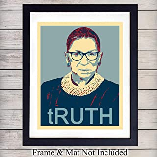 Notorious RBG Ruth Bader Ginsburg Art Print - Vintage Funny Wall Art Poster - Chic Modern Home Decor - Great Gift for Women, Feminists, Liberals, Democrat, Politics Fans, Office - 8x10 Photo Unframed