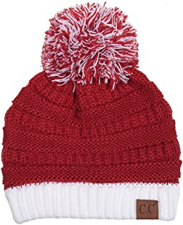 Exclusive University College School Team Color Pom Pom Skully Beanie Hat Cap