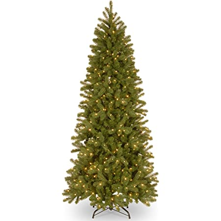 National Tree Feel Real Downswept Douglas Fir Hinged Tree with Dual Color LED Lights, 7 ft
