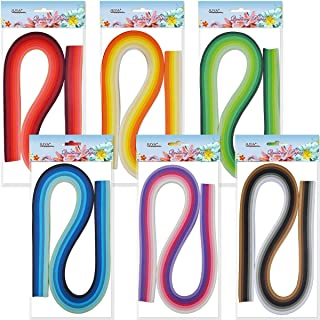 JUYA Paper Quilling Set 54cm Length Up to 42 Shade Colors 6 Pack(42 Colors,Width 3mm)