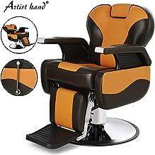 Artist Hand Barber Chair Hydraulic Reclining Barber Chairs Heavy Duty Salon Chair for Hair Stylist Tattoo Chair Salon Equipment (Yellow,Browm)