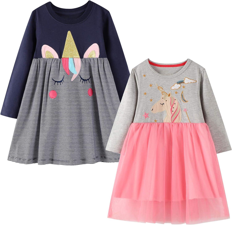 Girls Christmas Dress Long Sleeve Casual Cotton Dresses Cartoon Appliques Jersey Dress