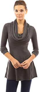 Women Cowl Neck A-Line Tunic Sweater