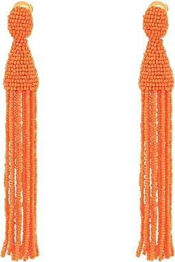 Oscar de la Renta Long Beaded Tassel C Earrings