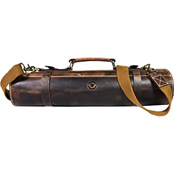 Leather Knife Roll Storage Bag, Elastic and Expandable 10 Pockets, Adjustable/Detachable Shoulder Strap, Travel-Friendly Chef Knife Case Roll By Aaron Leather Goods