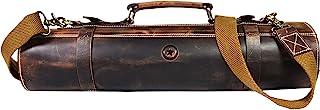 Ledermesserrolle Aufbewahrungstasche   Elastisch und erweiterbar 10 Taschen   Verstellbarer/Abnehmbarer Schultergurt   Reisefreundliche Kochmesser-Fallrolle von Aaron Leather Goods