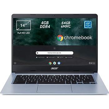 "Acer Chromebook 314 CB314-1H-C2W1 Notebook, Pc Portatile con Processore Intel Celeron N4000, Ram 4GB DDR4, eMMC 64GB, Display 14"" Full HD LED LCD, Scheda Grafica Intel UHD 600, Google Chrome, Silver"