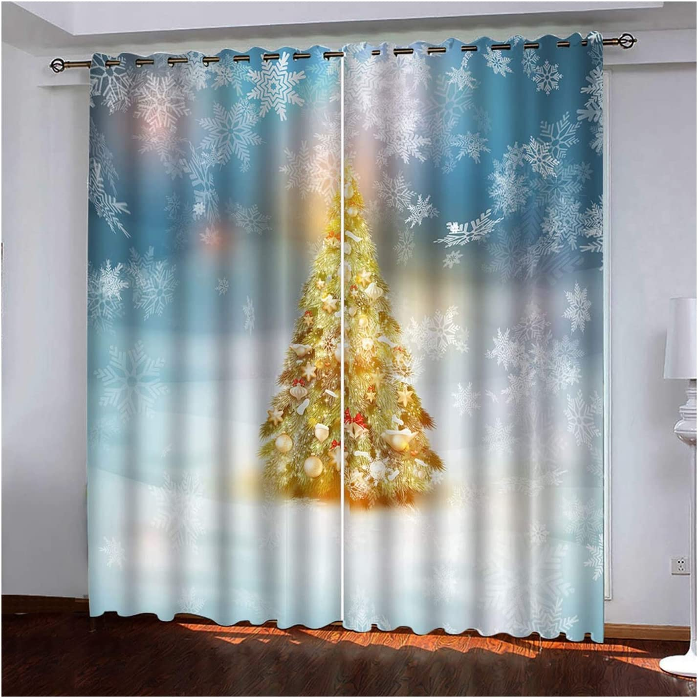 Daesar Christmas Curtain In a popularity for unisex Living Panels Room Set of