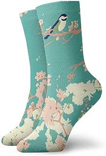 アクアの鳥と花モダンな日本の花柄Zoe Charlotte_255 絵画アートプリント面白いノベルティ動物カジュアルコットンクルーソックス11.8インチ