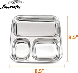 Buycrafty Set of 2 Stainless Steel Kid's Plate 3 Compartment Great for Camping, Kids Lunch and Dinner or Every Day Use