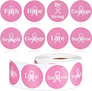 100 Pieces Breast Cancer Awareness Pink Paper Ribbons Cutouts Support Cards with 100 Pieces Pink Wooden Clips