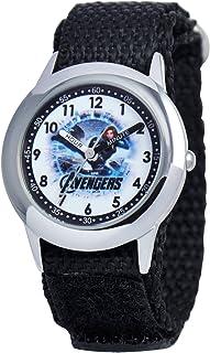 Marvel Kids' W000306 Marvel Avenger Kid's Stainless Steel Time Teacher Black Velcro Strap Watch