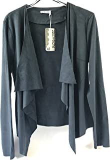 Blend 4 Thee Women's Long Sleeve Cardigan, Faux Suede, Chic Look, Drape Front