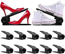 10PCS Shoe Slots - Shoe Stacker - Increase Space by 200% - Adjustable, 4 Level Shoe Space Saver - Durable Shoe Slots Organ...