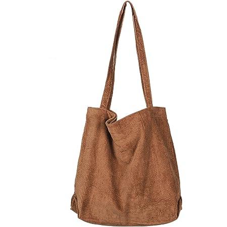 Etercycle Umhängetasche Damen Grosse Kapazität Cord Schultertasche Retro Handtasche für Alltag, Büro, Schulausflug und Einkauf - Braun