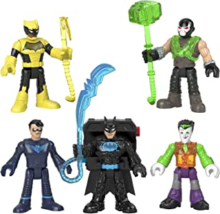 Fisher-Price Imaginext DC Super Friends Bat-Tech Multi-Pack, set of 5 poseable figures with clear light-up chests for kids...