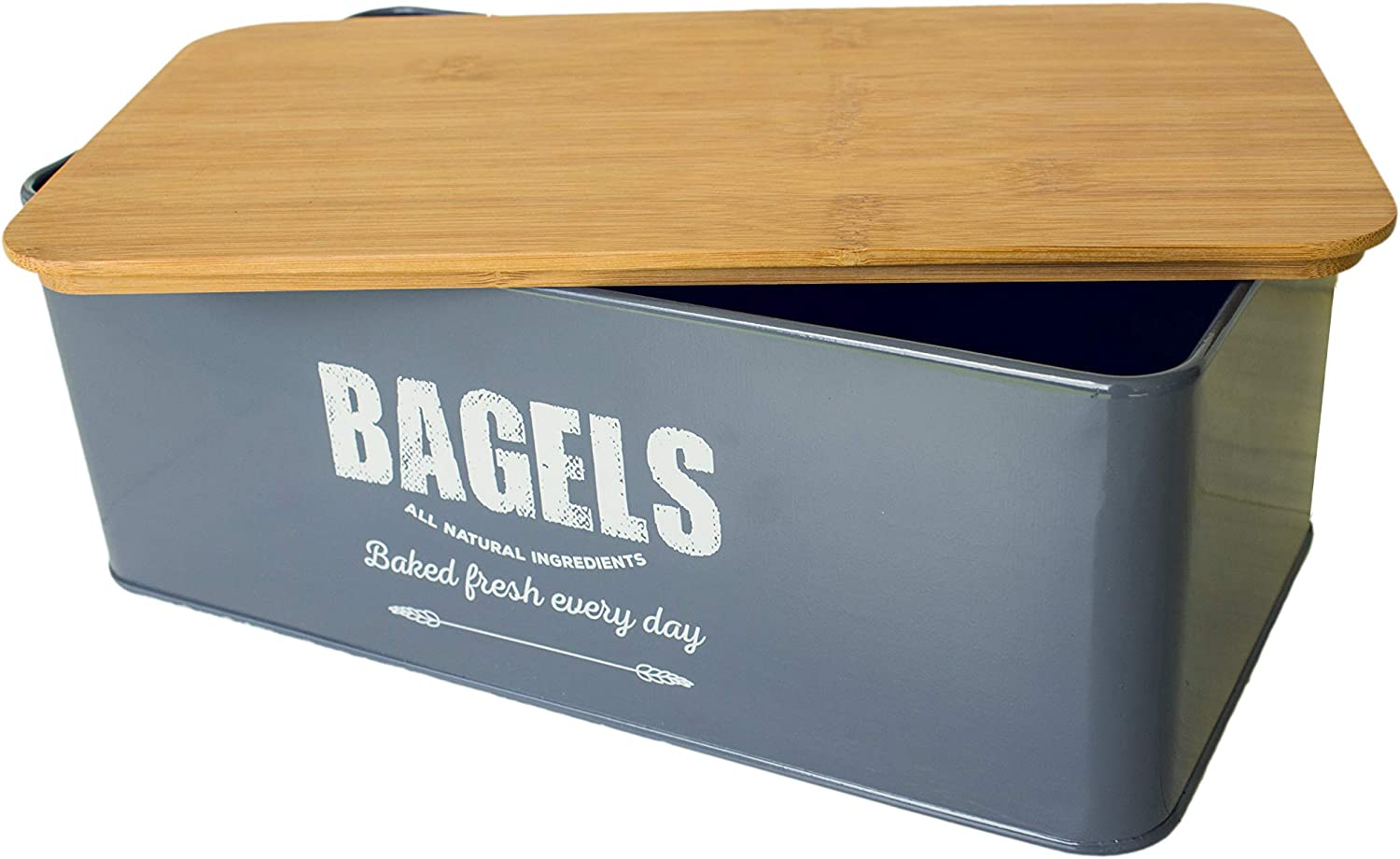 Metal With Bamboo Lid Vintage Bagel Box Bagels White Small Traditional Farmhouse Style Kitchen Counter Storage Bin For Fresh Loaves Kitchen Dining Bread Boxes Semo Es