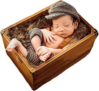 Newborn Props for Photography Wood Detachable Bed Baby Photography Background Accessories Flokati Newborn Studio Props for Shoot 16.5x11x8.5 inch Only The Bed