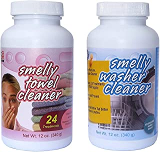 Smelly Washer Combo Pack of Washing Machine/Dishwasher Cleaner and Smelly Towel, 2-Pack (12-Ounce Bottles)